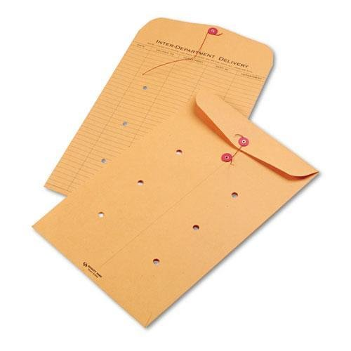 QUALITY PARK PRODUCTS 63564 Brown Kraft Kraft String & Button Interoffice Envelope, 10 x 15, 100/Carton kitqua37798saf7751gr value kit quality park clasp envelope qua37798 and safco e z sort steel mail sorter module saf7751gr