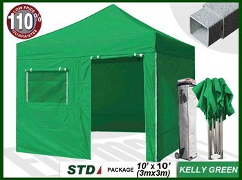 New Std 10X10 Feet Commercial Ez Pop Up Instant Canopy Quick Shelter Tent Outdoor Gazebo W/4 Zipper End Side Walls W/Roller Bag+Bonus Awning (Kelly Green) front-1067405