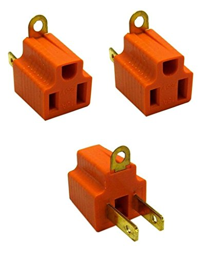3 Pc Electrical Plug Grounding Adapter 2 Prong To 3 Prong 15 Amp 125V