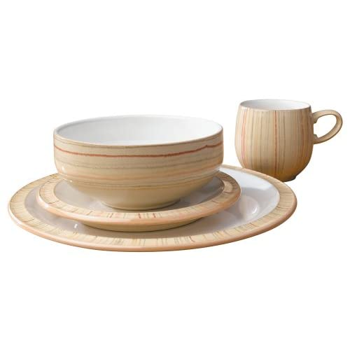 Denby Caramel Stripes 16 Piece Boxed Tableware Dining Set