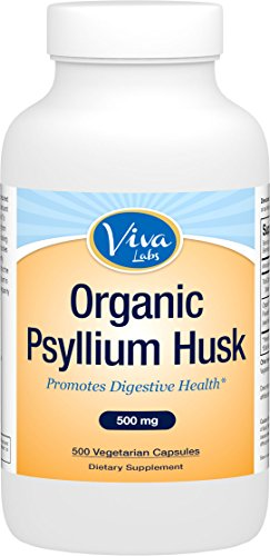 Viva Labs Organic Psyllium Husk, 500mg, 500 Vegetarian Capsules - The BEST Fiber Supplement for Optimal Intestinal Health (Now Psyllium Husk Caps compare prices)