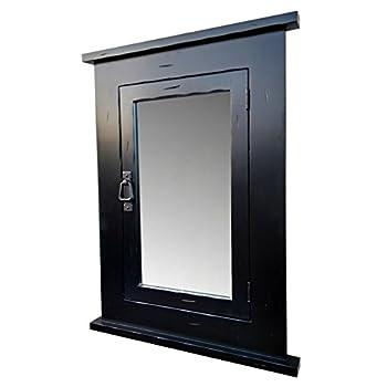 D&E Wood Craft Cabinets Primitive BLACK Mission Recessed Medicine Cabinet/Rustic/Solid Wood & handmade