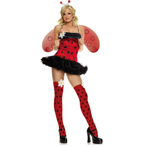 Sexy Lady Bug Adult Costume with Wings