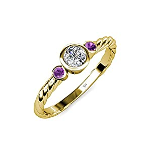 Diamond (SI2, G) and Amethyst Three Stone Rope Ring 0.70 ct tw in 14K Yellow Gold.size 4.0