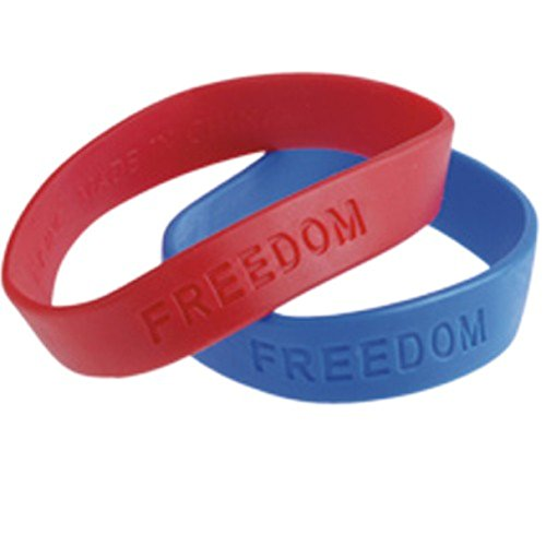 "Dozen Assorted Color (Red & Blue) Patriotic ""Freedom"" Embossed Rubber Band Stretchy Bracelets"