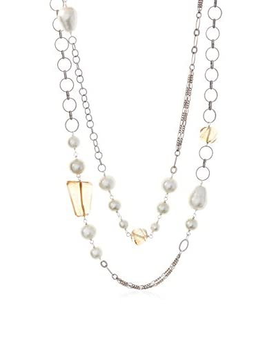 Chan Luu Cream Cotton Pearl & Crystal Mixed Chain Long Necklace