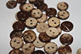 100 Coconut Shell Love Heart Wooden 11mm Buttons - 2 holes -DIY sewing, scrapbooking, crafts