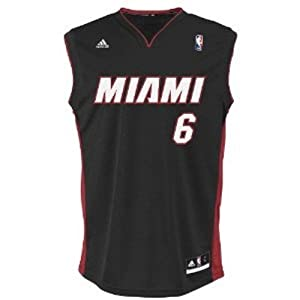 NBA Miami Heat Black Replica Jersey LeBron James #6, X-Large