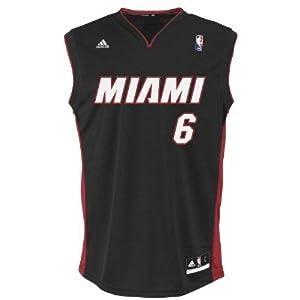 NBA Miami Heat Black Replica Jersey LeBron James #6 by adidas
