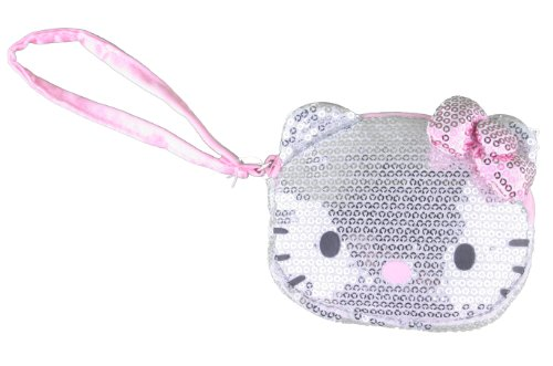 Hello Kitty Glitz & Glam Silver Sequin Die Cut Wristlet