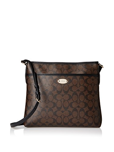 Coach Signature Coated Canvas File Bag in Brown & Black