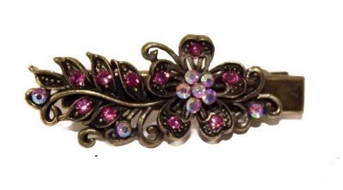 Vintage Glitter Pink Crystal Flower On 5cm Gold Beak Clip - Pink