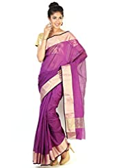 Floral Silk Saree Collections-Purple-P... Cotton