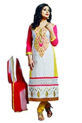 Pehnawa Fashion Women Poly_Cotton Unstitched Dress Material (White)