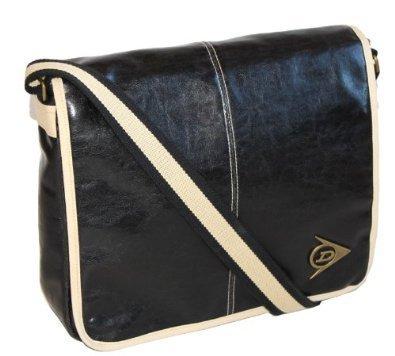 Dunlop Distressed Messenger Shoulder Bag - Black / Cream
