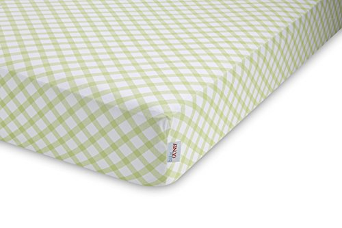 GUND Babygund Picnic Plaid Deluxe 300 Thread Count Crib Sheet, Picnic Plaid - Pistachio, 28'' By 52''