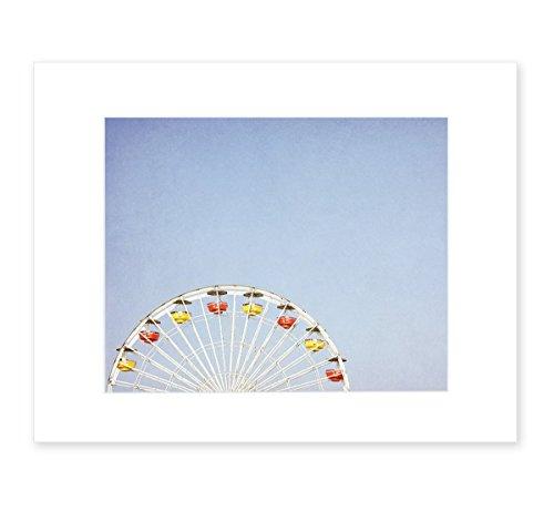 8x10-matted-photographic-print-carnival-blue-wall-art-minimalist-picture-decor-ferris-blue