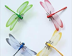 Tarmader 8PCS 3D Dragonfly Wall Stickers Decor Art Decorations