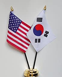 United States of America & South Korea Friendship Table Flag Display 25cm (10\