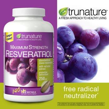 レスベラトロール レッドワインエキス配合 140粒 Resveratrol Maximum Strength 140 tabs TruNature社