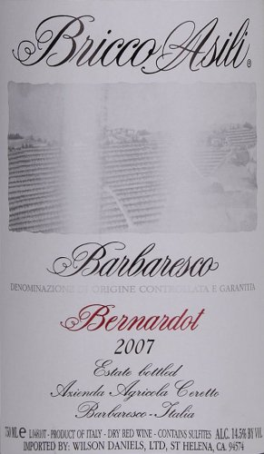 2007 Ceretto Barbaresco Bricco Asili Bernardot Nebbiolo 750 Ml