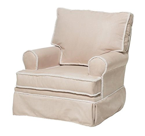 The Rockabye Glider Square Back Glider With Sherpa, Micro Beige/Ivory