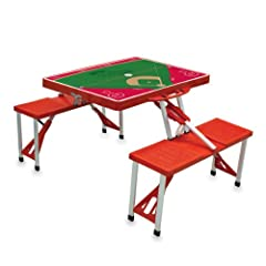 MLB Philadelphia Phillies Baseball Field Design Portable Folding Table and Seats, Red by Picnic Time