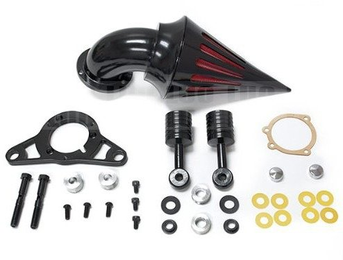Motorcycle part Black Billet Aluminum Cone Spike Air Cleaner Intake Filter Kit For Harley Davidson Softail Night Train, Fat Boy, Cross Bones, Dyna, Super Glide, Street Bob, Low Rider, Fat Bob, Wide Glide, Touring, Road King, Street Glide, Road Glide, Electra Glide, Softail & Cross Bones Softail Cruiser High Quality Black Billet Aluminum Cone Spike Air Cleaner Kit Intake Filter Motorcycle (2001-2009) (Harley Cone Air Filter compare prices)