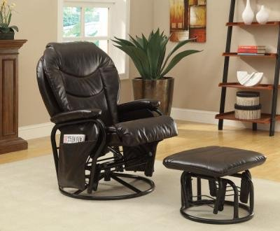 Glider Rocker Recliner With Ottoman