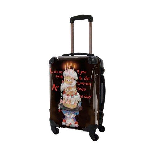 タカヘイモトコ/ハッピーバースデー/アートスーツケース/個性的/フレーム4輪/TSAロック/機内持込可能/キャラート/ケーキ 誕生日 ブラック 猫 ネコ/CRA01-J10401