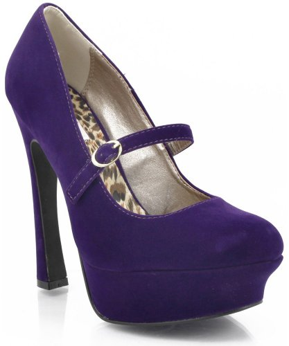 Qupid Pageant-25 Mary Jane Pumps PURPLE