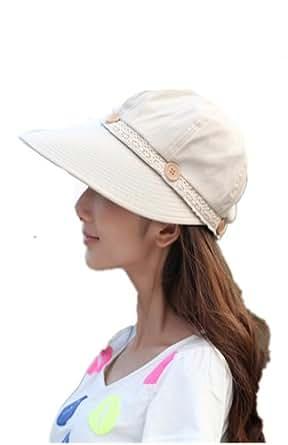 Aute cap Mme Summer visière vélo UV-Vide haut ant i- Sai chapeau à large rebord (550) (beige)