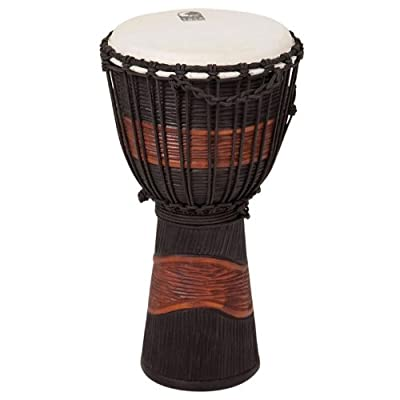 Toca Street Series Rope Tuned Wood Djembe, Small - Brown and Black Stain