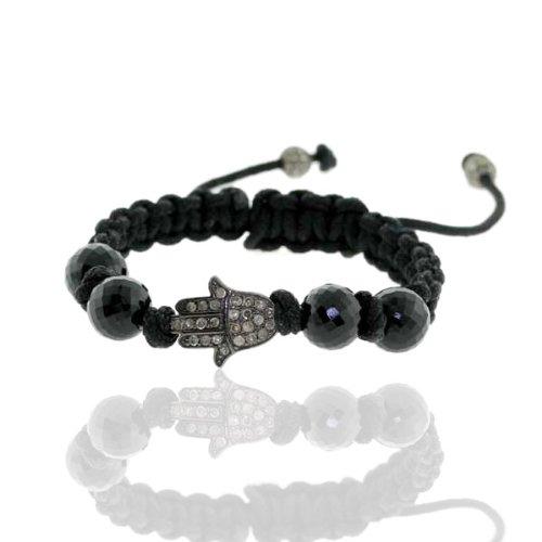 Hamsa Macrame Charm Bracelet 0.7cts Pave Diamond