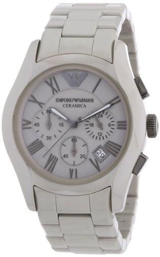 Emporio Armani AR1459 - Reloj cronógrafo de cuarzo para hombre, correa de cerámica color gris