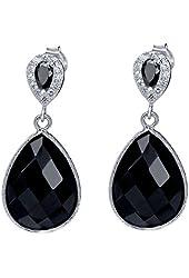 13 Ct Genuine Black Onyx 16x12mm Pear Shape 925 Silver Dangle Earrings