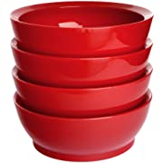 CaliBowl Non-Spill 28-Ounce Low Profile Bowl with Non-Slip Base Set of 4 Red