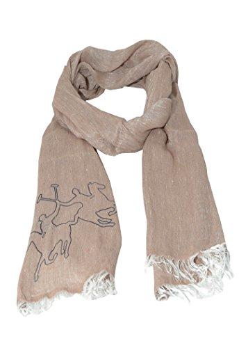 LA MARTINA sciarpa beige unisex con maxi logo