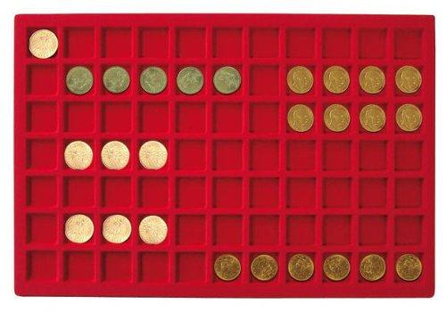 Plateau pour 77 monnaies jusqu'à 24 mm Ø [Lindner 2329-77], Format 336 x 224 mm