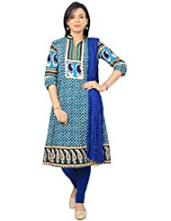 Rama Suit Set Of Pailsy Printed Blue Color Embroidery Worked Cotton Anarkali Kurti With Legging And Duppatta
