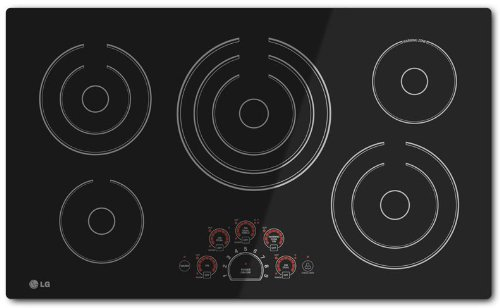 LG LCE3610SB 36″ Smoothtop Electric Cooktop with 5 Steady Heat Radiant Elements Including Triple 12″/9″/6″ Element, Warm Function, SmoothTouch Controls, Hot Surface Indicator Lights and Child Lock  ->  Simply Radiant Cooking performance meets modern de