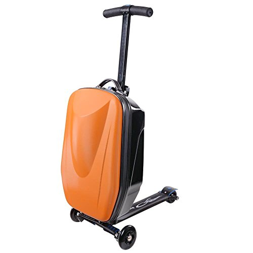 Orange Suitcase Luggage Scooter with 3 Strong Wheels