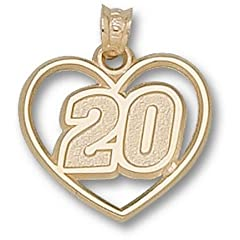 Joey Logano Driver Number 20 Heart Pendant - 14KT Gold Jewelry by Logo Art