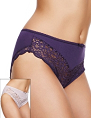 2 Pack Per Una High Leg Floral Lace Knickers