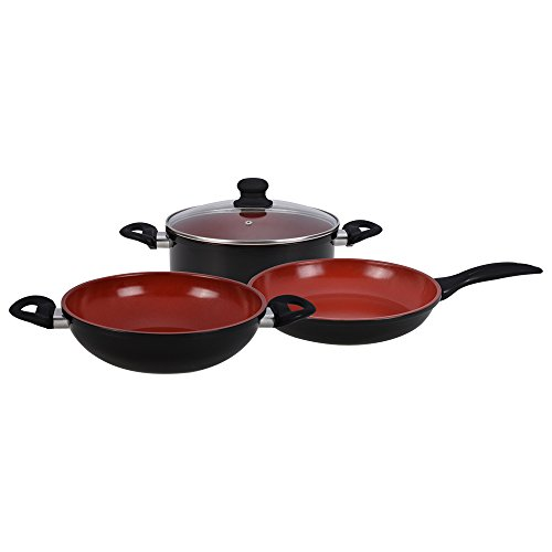 Wonderchef Mystique Induction Base Cookware Set, 4-Pieces, Maroon/Black