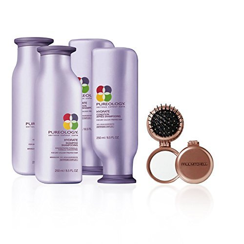 Bundle - 5 items: (2) Pureology Hydrate Shampoo & (2) Conditioner's, 8.5 Oz & ( 1) Paul Mitchell Compact Mirror and Brush... (Pureology Hair Brush compare prices)