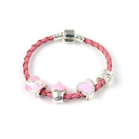 Bling Rocks Childrens 'Love and Kisses' Silver and Pink Leather Pandora Style Charm/Bead Bracelet. Girls Birthday Gift/Stocking Filler (Other Sizes Available)