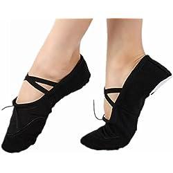Womens Ladies Canvas Ballet Dance Gymnastics Yoga Shoes Flats Black 42#