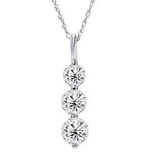 Huge 2.00ct Real 3 Stone Diamond Pendant Past Present Future 14K White