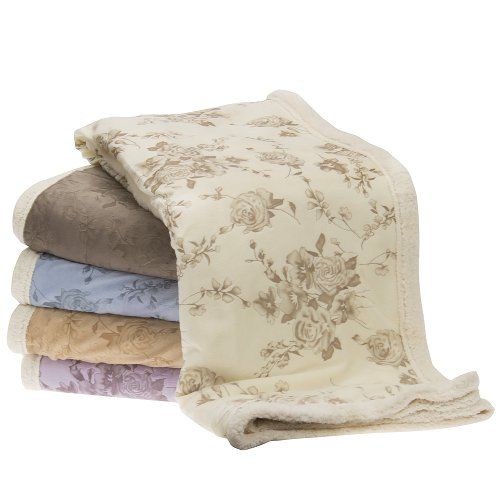 "Victoria Rose , Cudly Sherpa Plush Throw - Blanket 50"" X 60"" , Sage front-1020019"